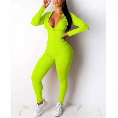 Zipper Solid Hooded Tracksuit