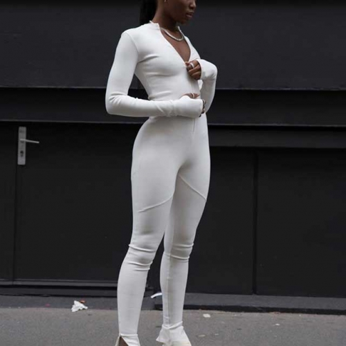 Zippered Long Sleeve Sporty Jumpsuit