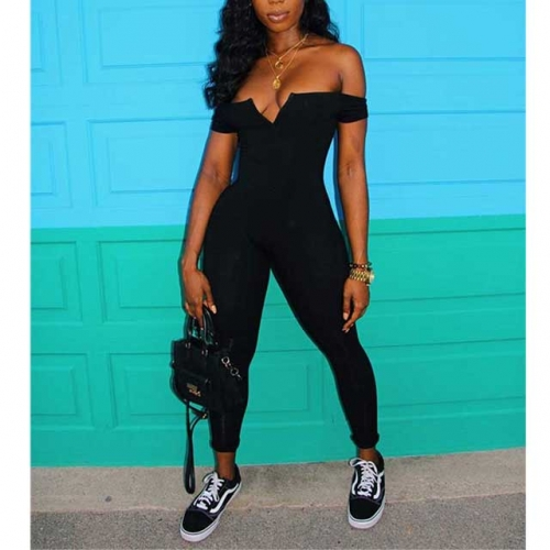 Solid Strapless Skinny Jumpsuit