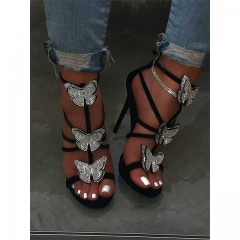 Rhinestones Detail High Heel Sandals