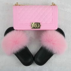 Solid Color Fur Slides And Jelly Bag Set