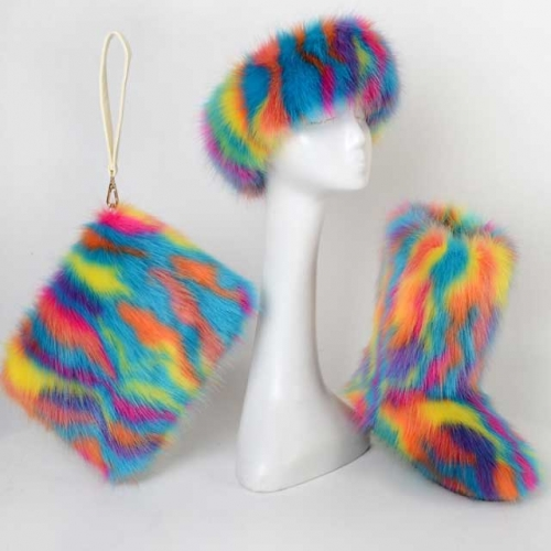 Multi-Color Fur Boots Set(fur boot+headband+handbag)